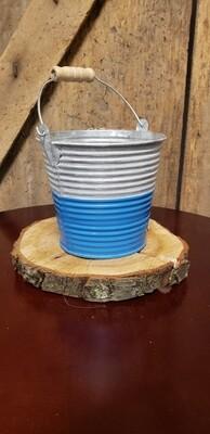 Tin Bucket Planter Blue