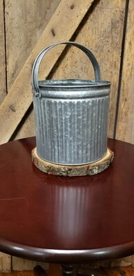 Large Tin Bucket With Liner