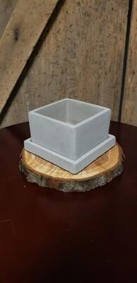 Square Cement Planter W/Saucer