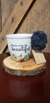 Moms Make Life Beautiful Multi Colored Floral Pom Mug