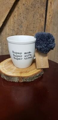 Super Mom Super Wife Super Tired Pom Mug