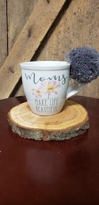 Moms Make Life Beautiful Pom Mug