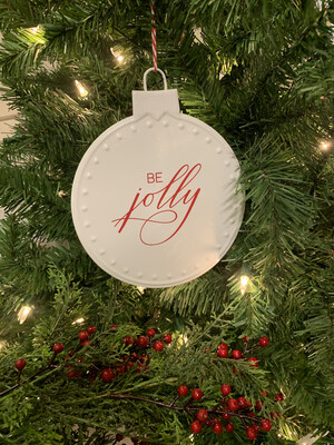 Be Jolly White Metal Ornament