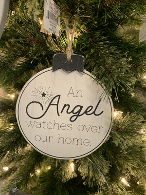 An Angel Watches Over Our Home Wood Ornament