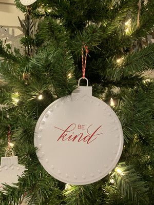 Be Kind White Metal Ornament