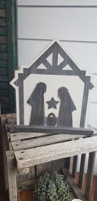 Wood Cutout Nativity