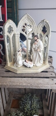 Holy Family With Mirrored Stand 12.5