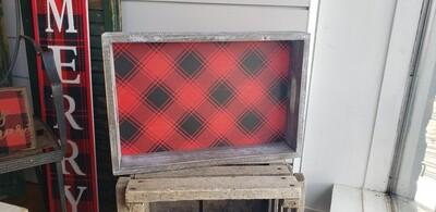 Wood Frame Plaid Tray