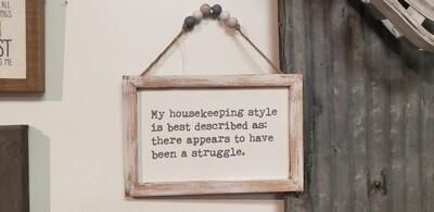 Housekeeping Beaded Sign