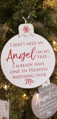 Angel In Heaven White/Red Wood Ornament