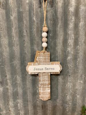 Jesus Saves Cross With Beads