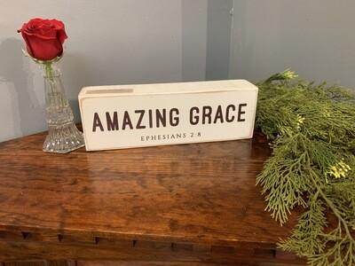 "Amazing Grace Wood Sign 4""x12"""