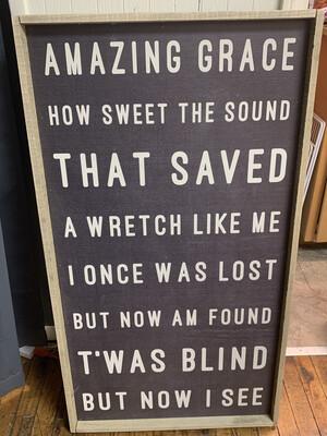 Amazing Grace Hymn Sign- Black 42x22