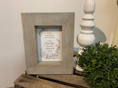 Always Remembered Picture Frame Gray