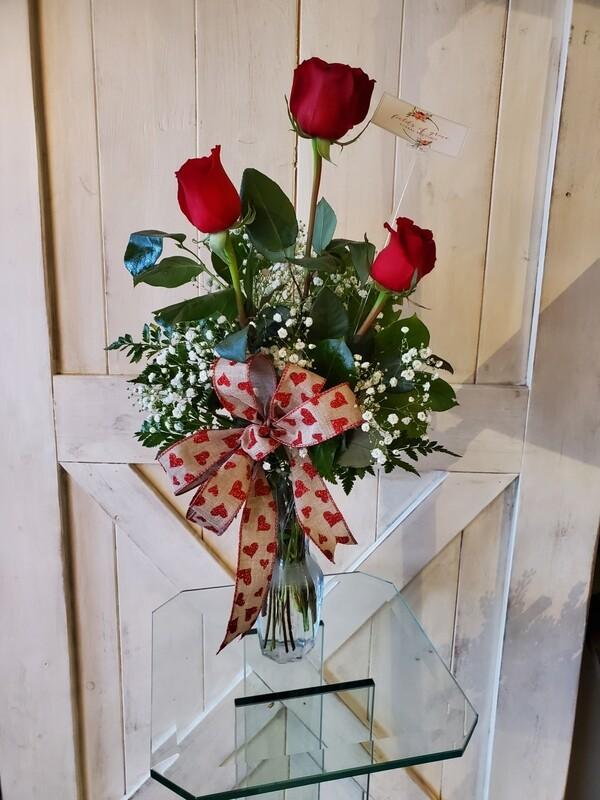 3 Rose Vase Bouquet