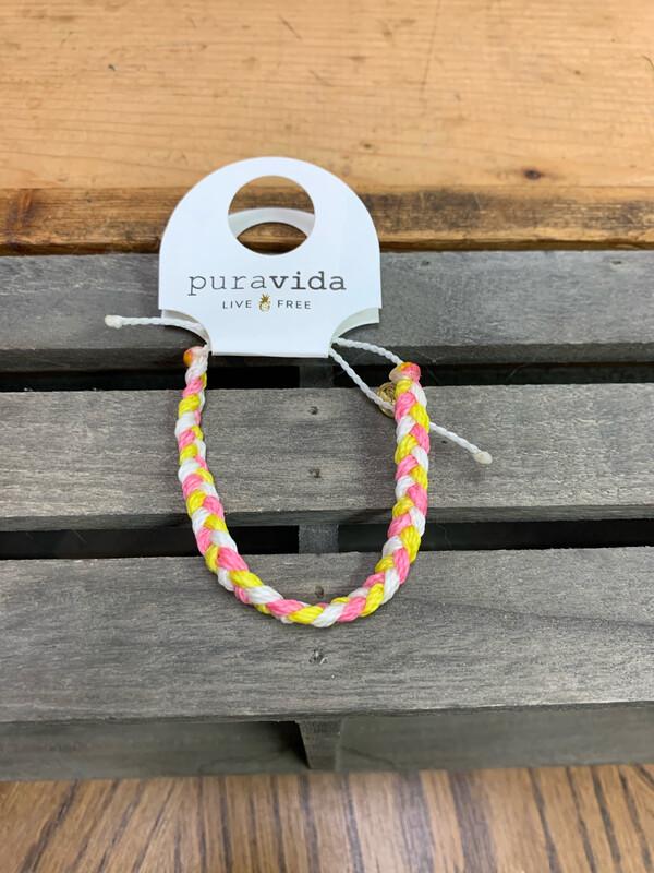 PuraVida Braided Bracelet Pink, Yellow ,White