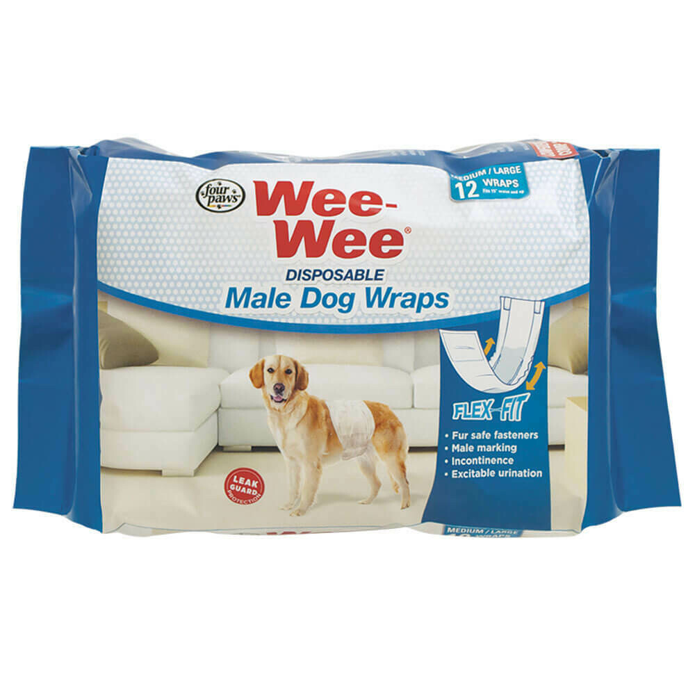 WEE WEE MALE WRAP MD/LG 12pk