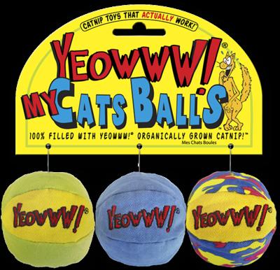 YEOW BALLS CATNIP 3PK