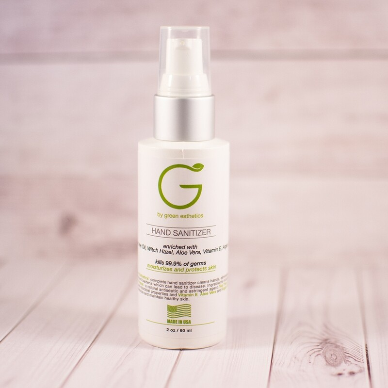 Hand sanitizer enriched with Tea Tree Oil, Vitamin E, Aloe Vera, Witch Hazel and Argan Oil