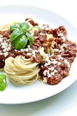 Spaghetti mit Lachssoße und Spinat