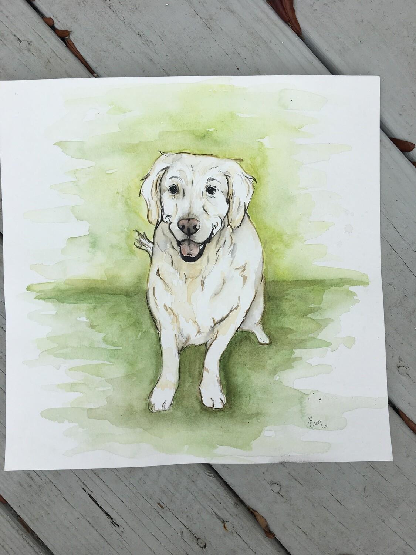 Custom Watercolor Pet Portait (12x12)