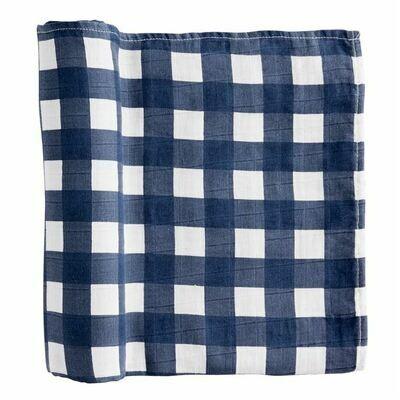 Navy Check Muslin Blanket
