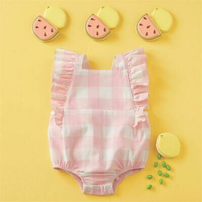 Pink Check Bubble Onesie