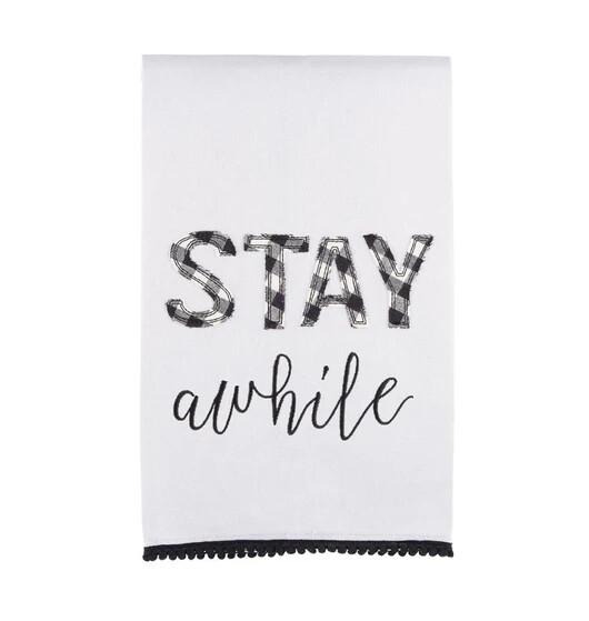 """Stay Awhile"" Hand Towel"