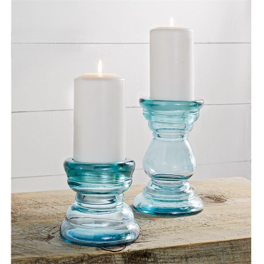 Blue Glass Candle Sticks