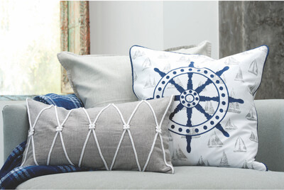 Accent Grey Pillow with Rope