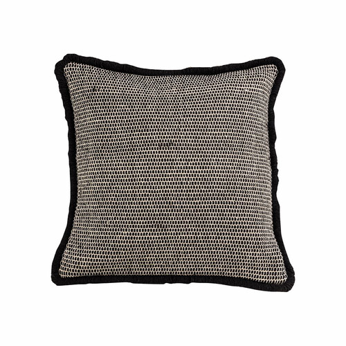 Navy Blue and White Woven Pillow