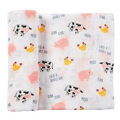 Farm Animal Muslin Blanket