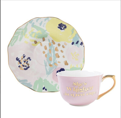"""Cup & Saucer """"She's whiskey"""""""