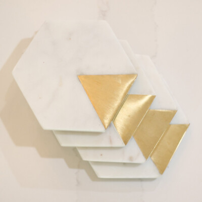 Marble and Gold Coaster set