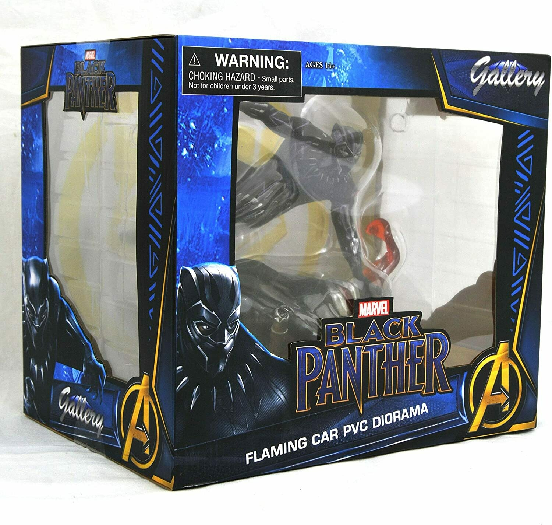 Black Panther Flaming Car PVC Diorama