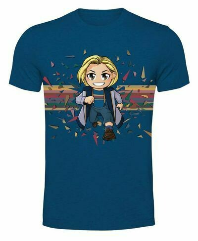 13th Doctor Kawaii Rainbow - Metro Blue T-shirt XXL