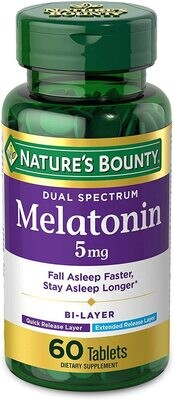 Melatonina 5 Mg 60 Tabletas Doble Liberación Rápida Y Lenta