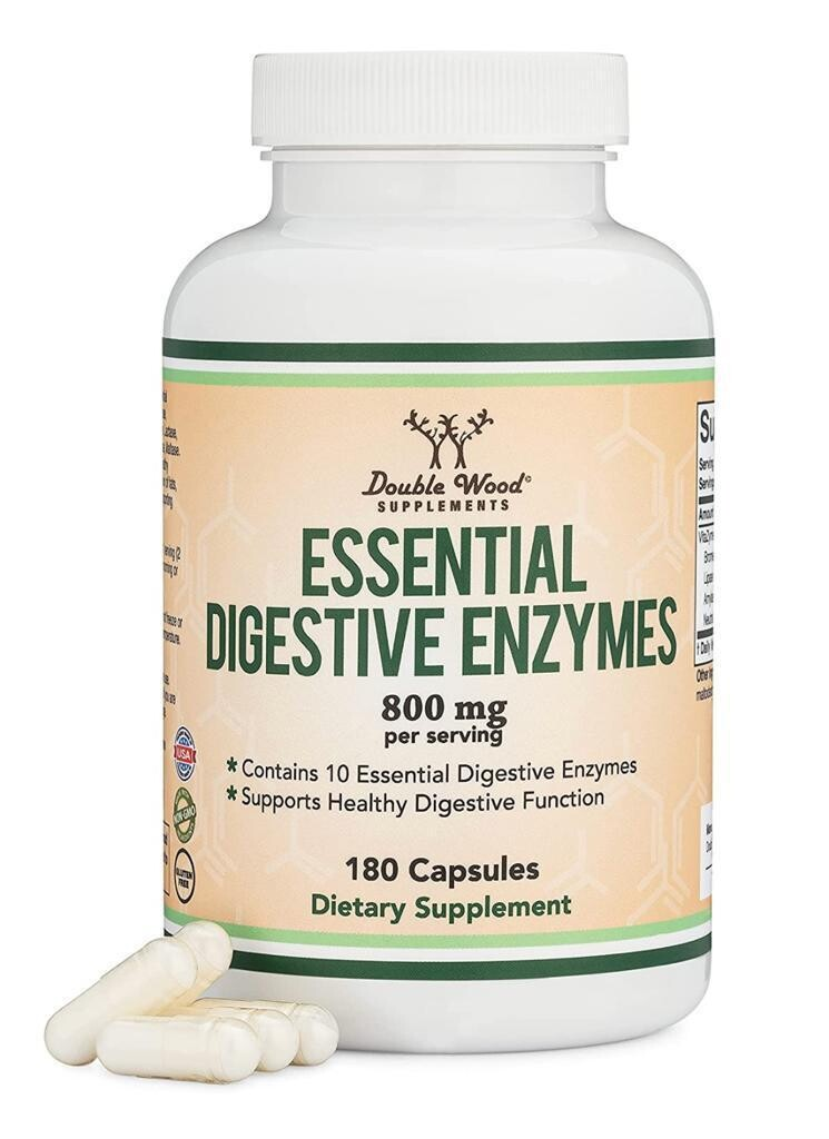 Enzimas Digestivas 800mg 180 Capsulas Double Wood