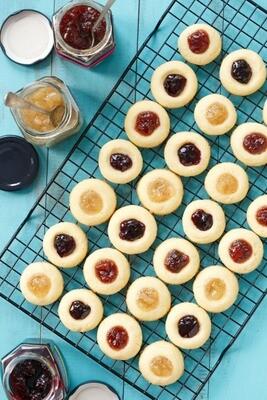 Thumbprint jam filled cookies