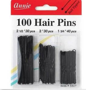 100 Hair Pins Annie Black Assorted Sizes