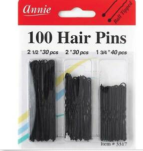 100 Hair Pins Annie Black Assorted Sizes