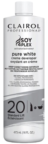 Clairol Professional Soy 4plex Pure White Creme Developer 20 Std Lift 16oz