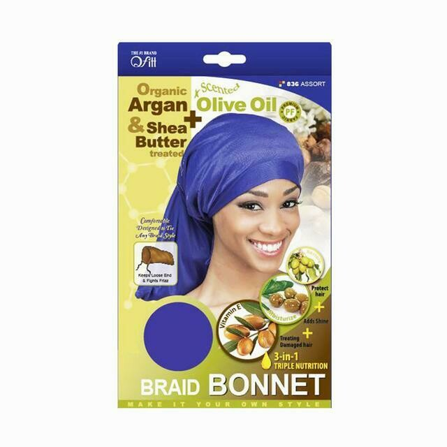 Braid Bonnet Organic Argan And Shea Butter Olive Oil Scented Color Assort
