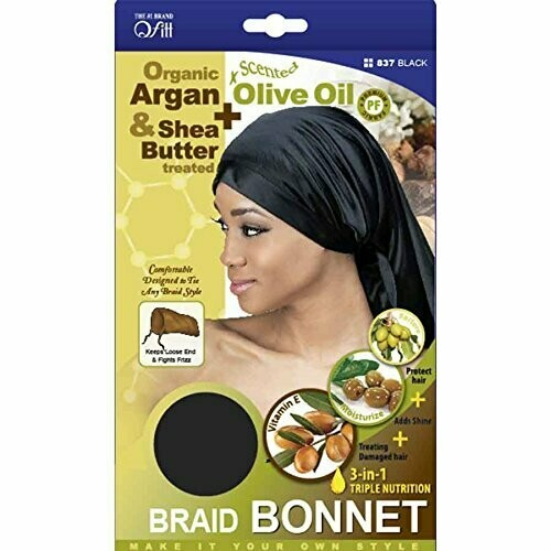Braid Bonnet Organic Organic Olive Oil And Shea Butter Treated Black Color