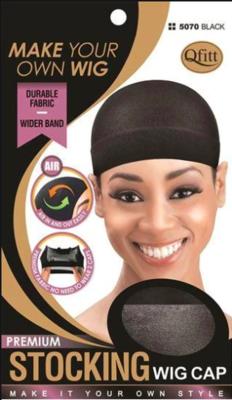 Qfitt Premium Stocking Wig Cap #5070 Black