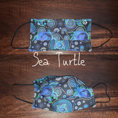 Sea Turtle - Homemade Double layer Masks with filter slot