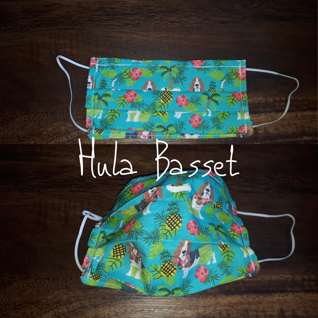 Hula Basset - Homemade Double layer Masks with filter slot