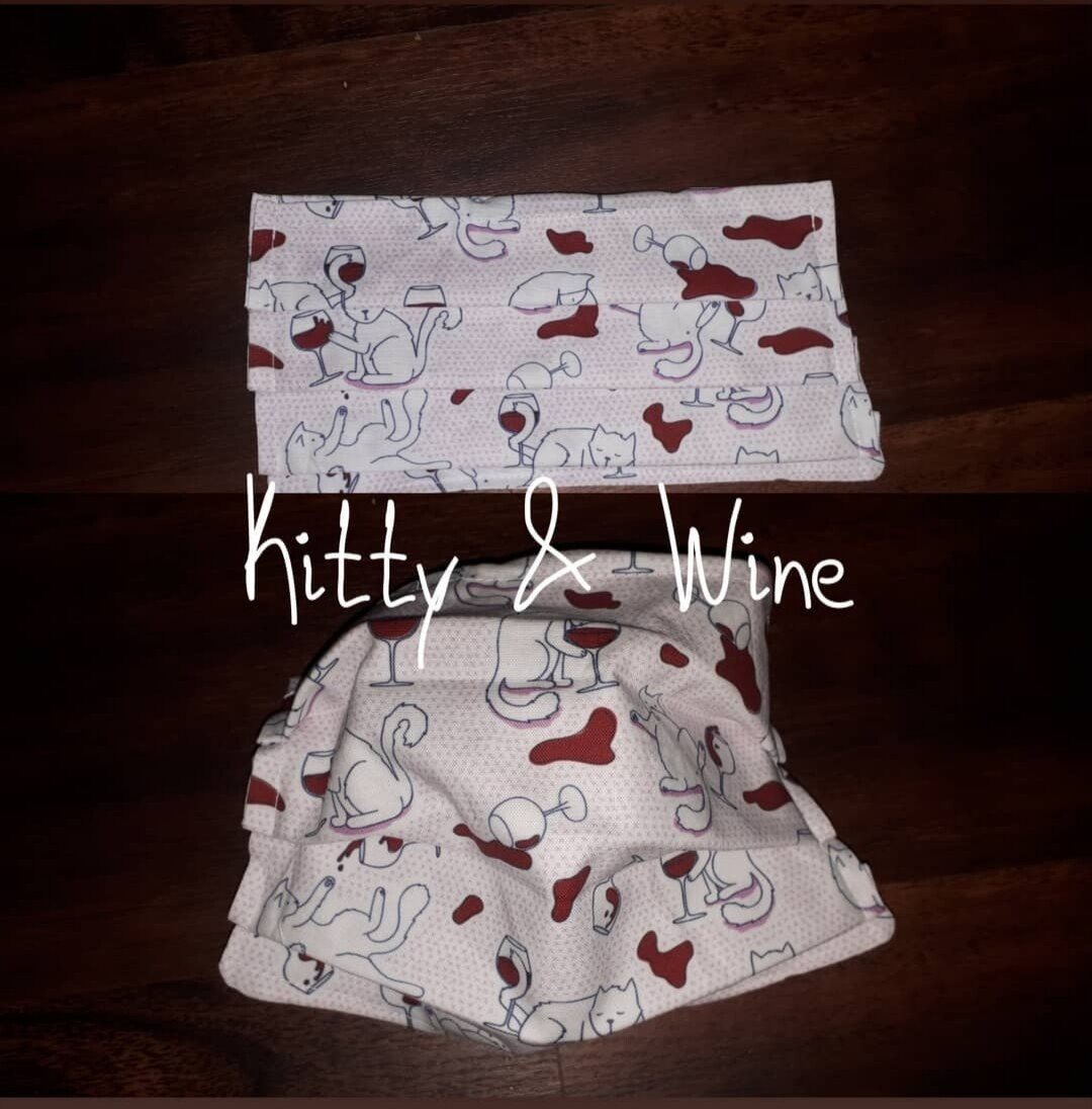 Kitty & Wine - Homemade Double layer Masks with filter slot