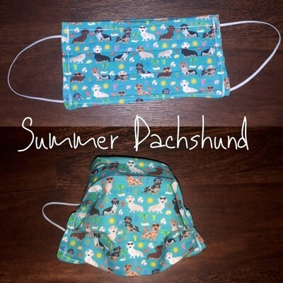 Summer Dachshund - Homemade Double layer Masks with filter slot
