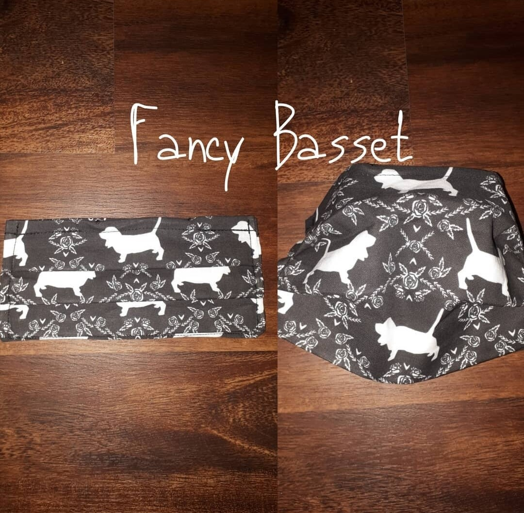 Fancy Basset - Homemade Double layer Masks with filter slot